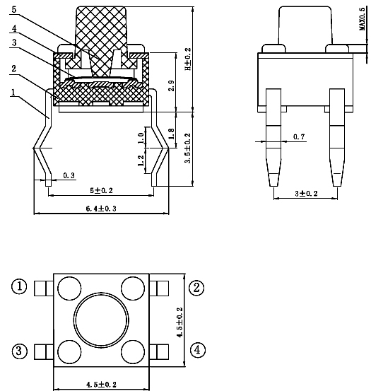 4.5x4.5mm Tact Switch